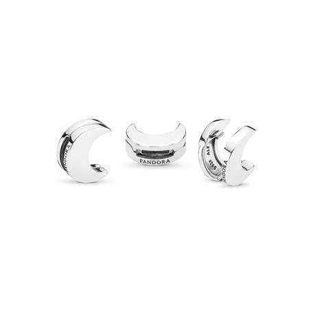 PANDORA REFLEXIONS™ Moon Clip Charm, Sterling silver, Silicone - PANDORA - #797552