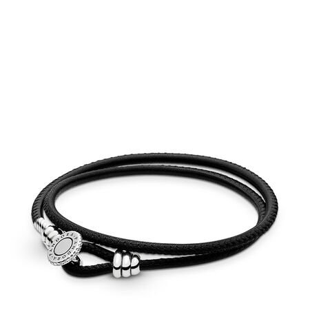 a1eb99b9c1058 Black Double Leather Bracelet, Clear CZ Sterling silver, Leather ...