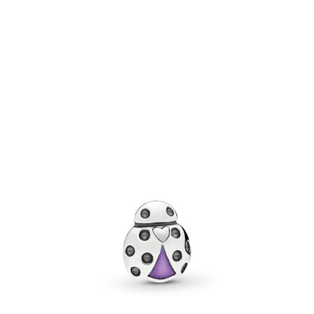 Ladybug Petite Locket Charm, Purple Enamel, Sterling silver, Enamel, Purple - PANDORA - #797050EN159