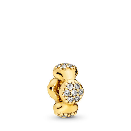 Modern LovePods™ Spacer, PANDORA Shine™ & Clear CZ, 18ct Gold Plated, Cubic Zirconia - PANDORA - #767292CZ