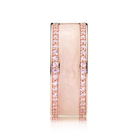 Hearts of PANDORA Ring, PANDORA Rose™, Cream Enamel & Clear CZ, PANDORA Rose, Enamel, Pink, Cubic Zirconia - PANDORA - #181024EN95