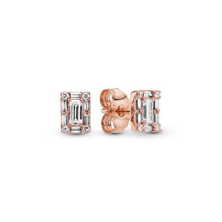 Luminous Ice Stud Earrings, PANDORA Rose™ & Clear CZ, PANDORA Rose, Cubic Zirconia - PANDORA - #287567CZ