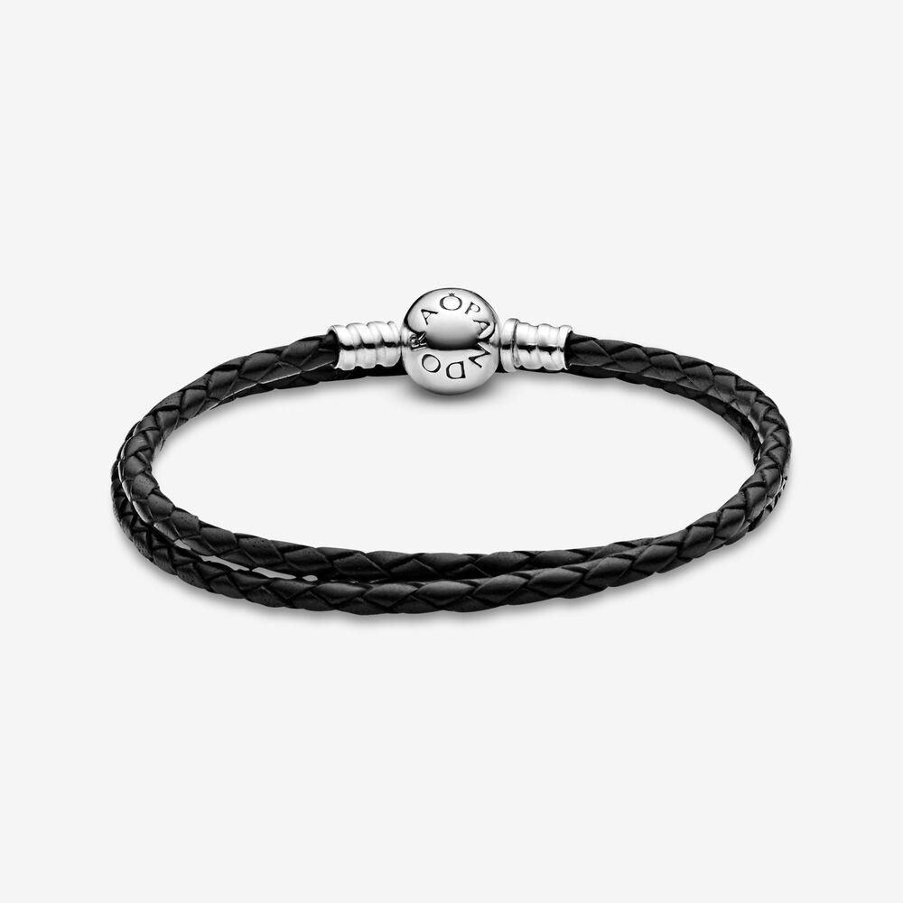 Pandora Moments Double Black Leather Bracelet | Sterling silver ...