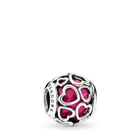 Cerise Encased in Love Charm, Cerise Crystal, Sterling silver, Pink, Crystal - PANDORA - #792036NCC