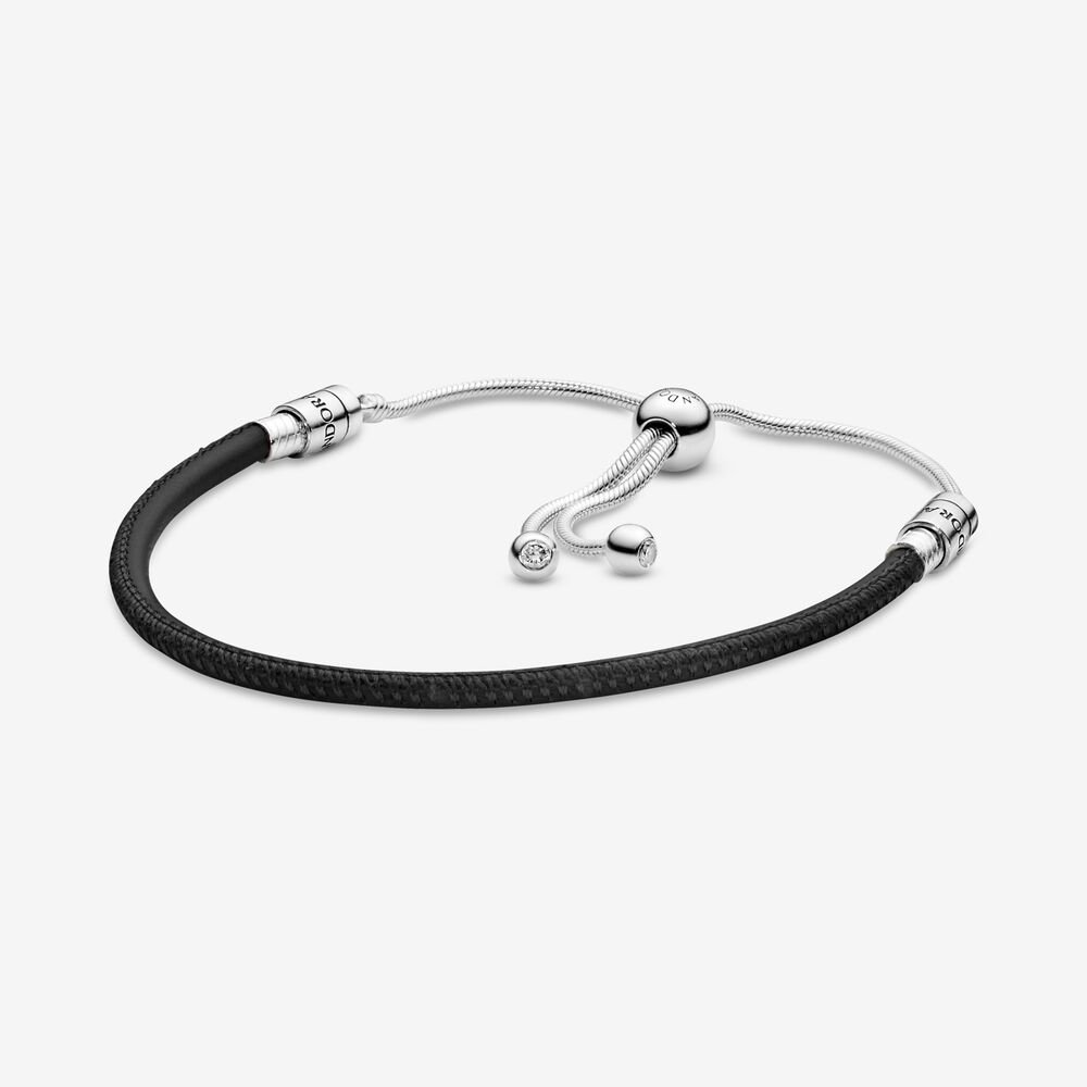 Pandora Moments Black Leather Slider Bracelet