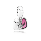 You & Me, Two-Part Dangle Charm, Clear CZ & Fuchsia Enamel