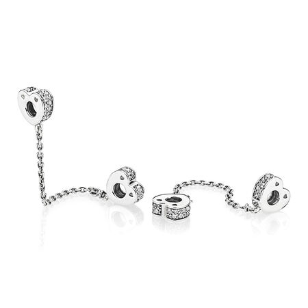Sparkling Arcs of Love Safety Chain, Clear CZ