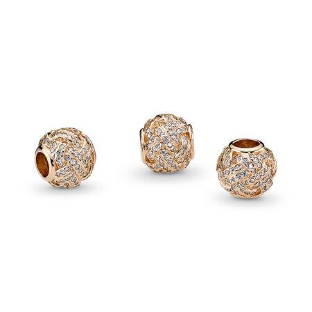 Sparkling Love Knot Charm, 14K Gold & Clear CZ, Yellow Gold 14 k, Cubic Zirconia - PANDORA - #750991CZ