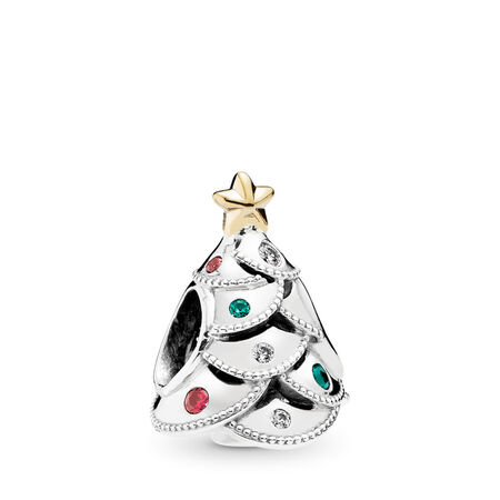 Festive Tree Charm, Multi-Colored CZ, Two Tone, Green, Mixed stones - PANDORA - #791999CZRMX