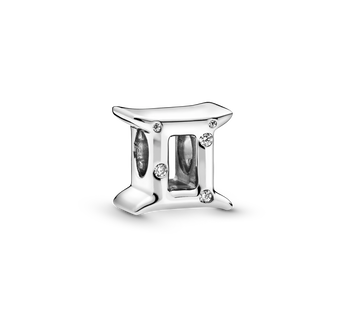 Gemini sterling silver charm with clear cubic zirconia