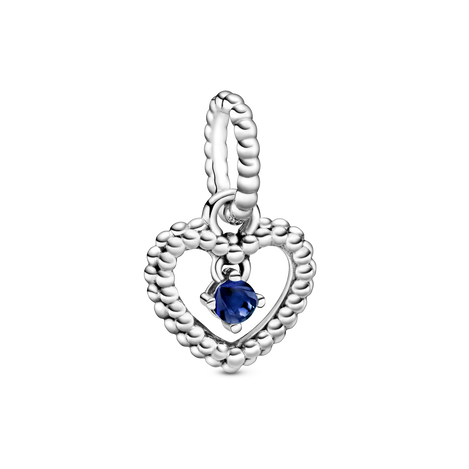 Heart sterling silver dangle with royal blue crystal