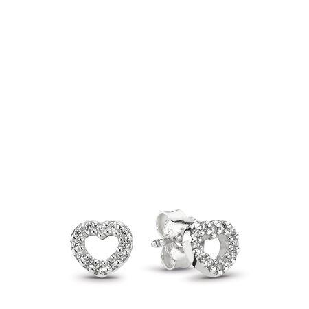 4b8d25946 Heart Swirls Stud Earrings, Clear CZ Sterling silver, Cubic Zirconia