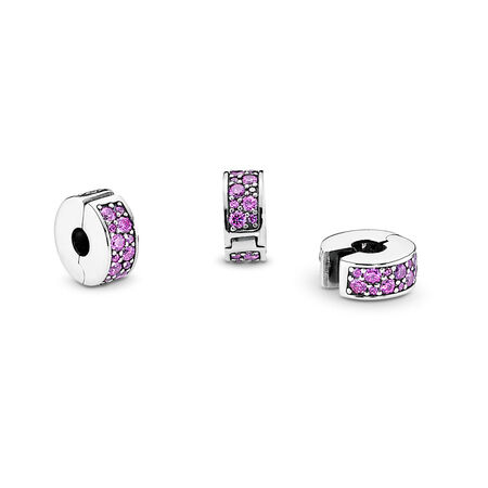 Shining Elegance Clip, Fancy Purple CZ, Sterling silver, Silicone, Purple, Cubic Zirconia - PANDORA - #791817CFP