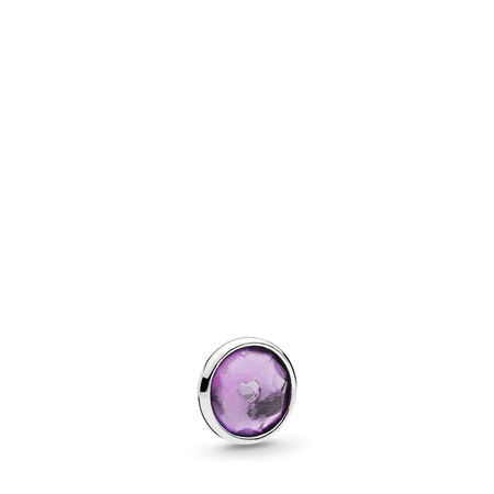 February Droplet Petite Locket Charm, Sterling silver, Synthetic Amethyst - PANDORA - #792175SAM
