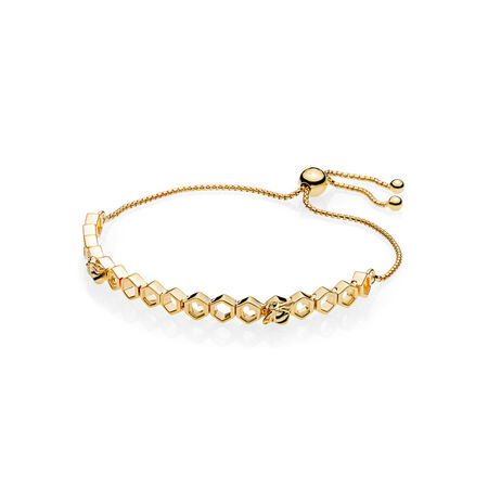Limited Edition PANDORA Shine™ Honeybee Bracelet, 18ct Gold Plated, Enamel, Black - PANDORA - #567109EN16