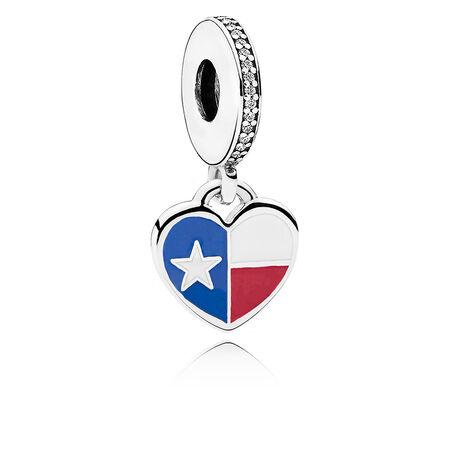 Texas Flag Heart Dangle Charm, Mixed Enamel