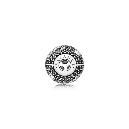 BALANCE Charm, Clear CZ & Black Crystal