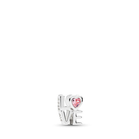 Pink LOVE Petite Locket Charm, Sterling silver, Cubic Zirconia - PANDORA - #792161PCZ