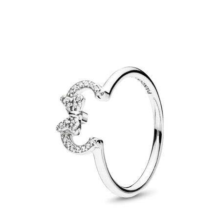 Disney, Minnie Silhouette Ring, Clear CZ
