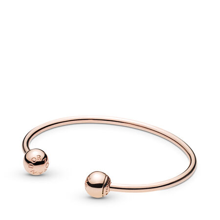 PANDORA Rose™ Open Bangle, PANDORA Logo Caps