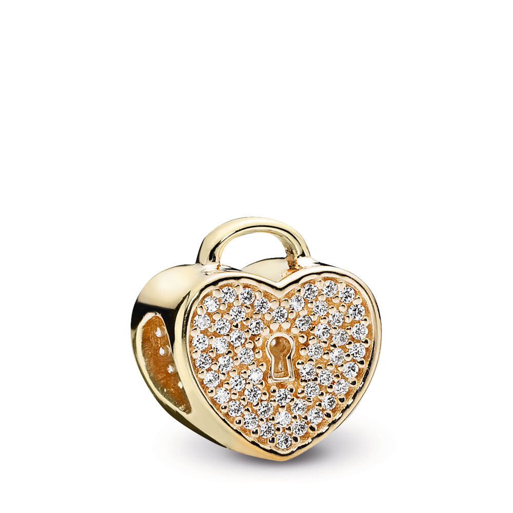 f49c0f09f Heart Lock Charm, Clear CZ & 14K Gold