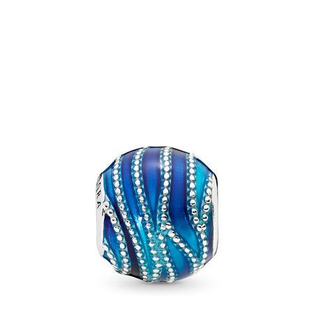 Blue Swirls Charm, Mixed Enamel