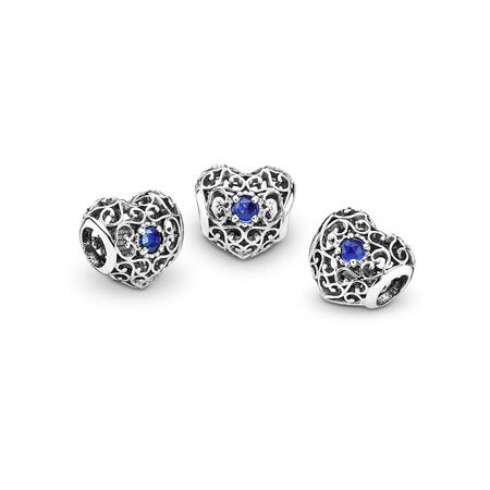 7dca0717ba95d September Signature Heart Charm, Synthetic Sapphire Sterling silver ...
