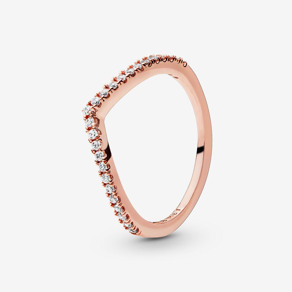 Sparkling Wishbone Ring   Rose gold plated   Pandora US