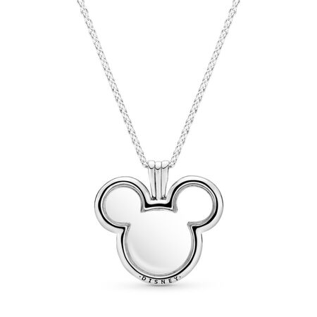 Disney, Mickey Floating Locket, Clear CZ