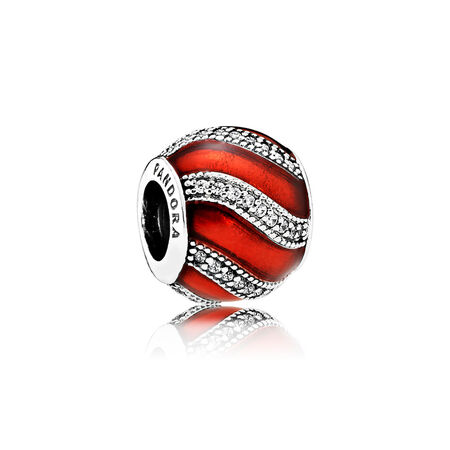 Adornment Charm, Translucent Red Enamel & Clear CZ, Sterling silver, Enamel, Red, Cubic Zirconia - PANDORA - #791991EN07
