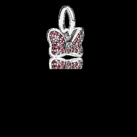 Disney, Minnie's Sparkling Bow Dangle Charm, Red & Clear CZ