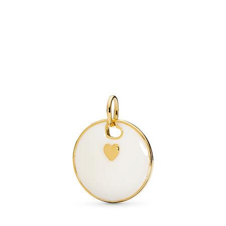 Love Statement Pendant, PANDORA Shine™ & Silver Enamel, 18ct Gold Plated, Enamel, Silver - PANDORA - #367351EN23