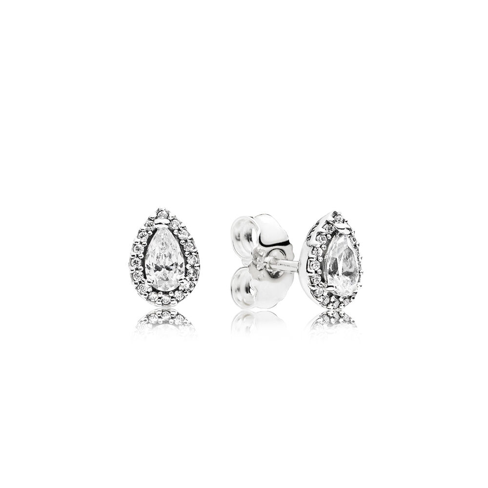 Radiant Teardrops Stud Earrings Clear Cz