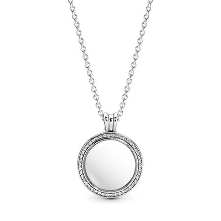 Sparkling PANDORA Locket, Medium, Sapphire Crystal Glass & Clear CZ