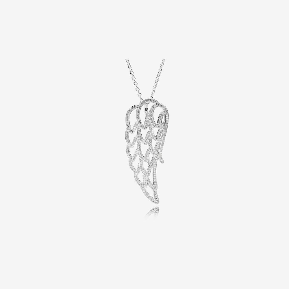 Angel Wing Pendant Necklace, Clear CZ