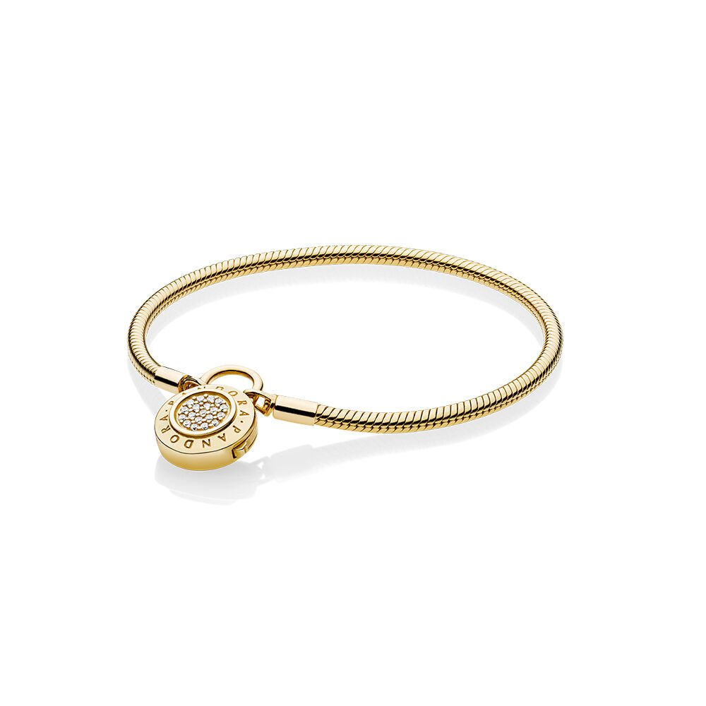 Smooth Pandora Shine Bracelet Signature Padlock Clear