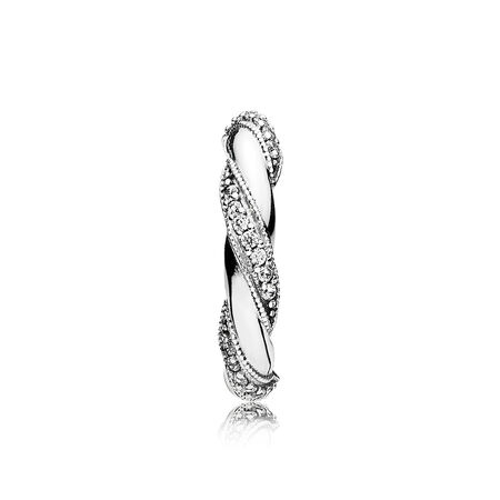 Ribbons of Love Ring, Clear CZ