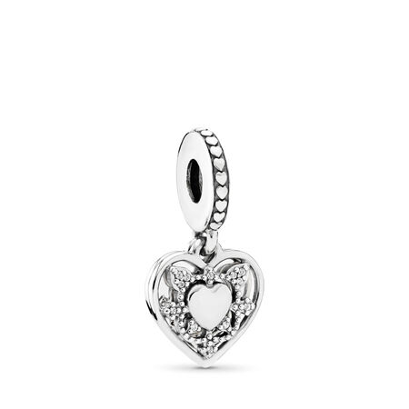 My Wife Always Dangle Charm, Clear CZ, Sterling silver, Cubic Zirconia - PANDORA - #792099CZ