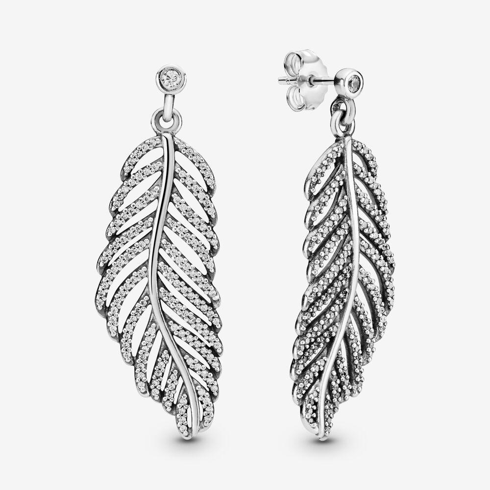 Shimmering Feather Dangle Earrings