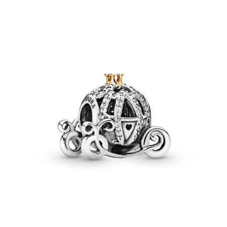 33973b28c2170 Disney Cinderella's Pumpkin Coach Charm Two Tone, Cubic Zirconia