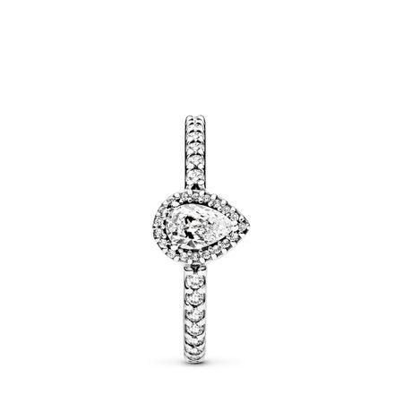 Radiant Teardrop Ring, Clear CZ, Sterling silver, Cubic Zirconia - PANDORA - #196254CZ