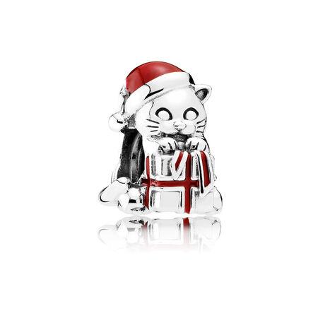 Christmas Kitten Charm, Berry Red Enamel