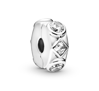 Sterling silver clip  with clear cubic zirconia and silicone grip