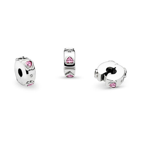 Explosion of Love Clip, Fancy Fuchsia Pink & Clear CZ, Sterling silver, Silicone, Pink, Cubic Zirconia - PANDORA - #796591FPC