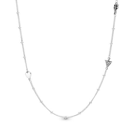 Sparkling Arrow Necklace, Clear CZ, Sterling silver, Cubic Zirconia - PANDORA - #397795CZ