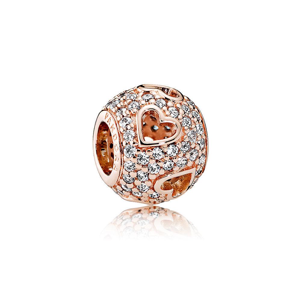 Excellent Tumbling Hearts Charm, PANDORA Rose™ & Clear CZ | PANDORA Jewelry US EK76