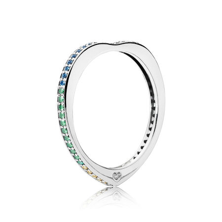 Multi-Colored Arc of Love Ring, Multi-Colored CZ, Sterling silver, Blue, Mixed stones - PANDORA - #197095NRPMX