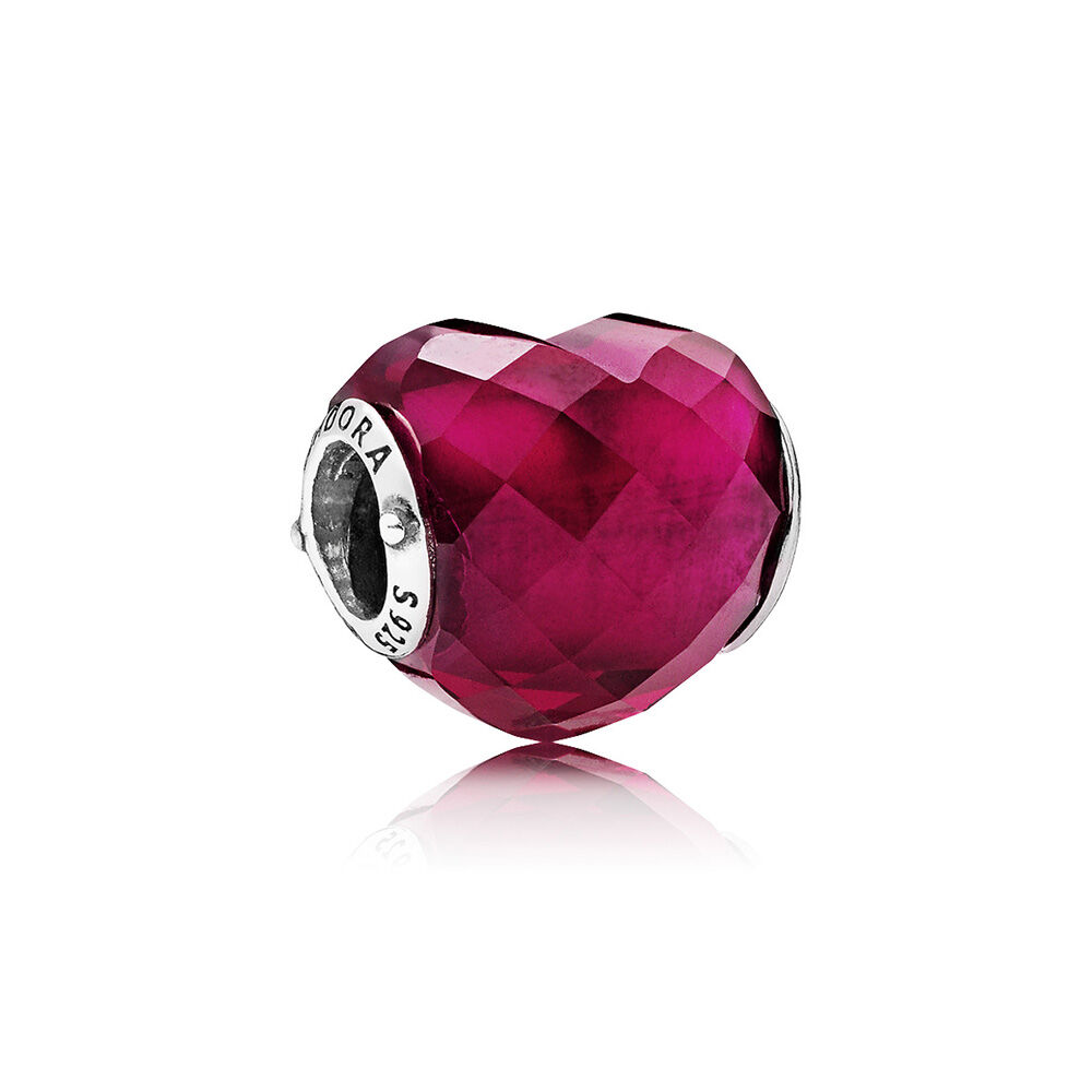 Fuchsia Shape Of Love Charm Fuchsia Rose Crystal