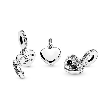 I Love My Mom Dangle Charm, Clear CZ, Sterling silver, Cubic Zirconia - PANDORA - #792071CZ