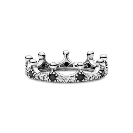 Enchanted Crown Ring, Clear CZ & Black Crystals, Sterling silver, Black, Mixed stones - PANDORA - #197087NCKMX